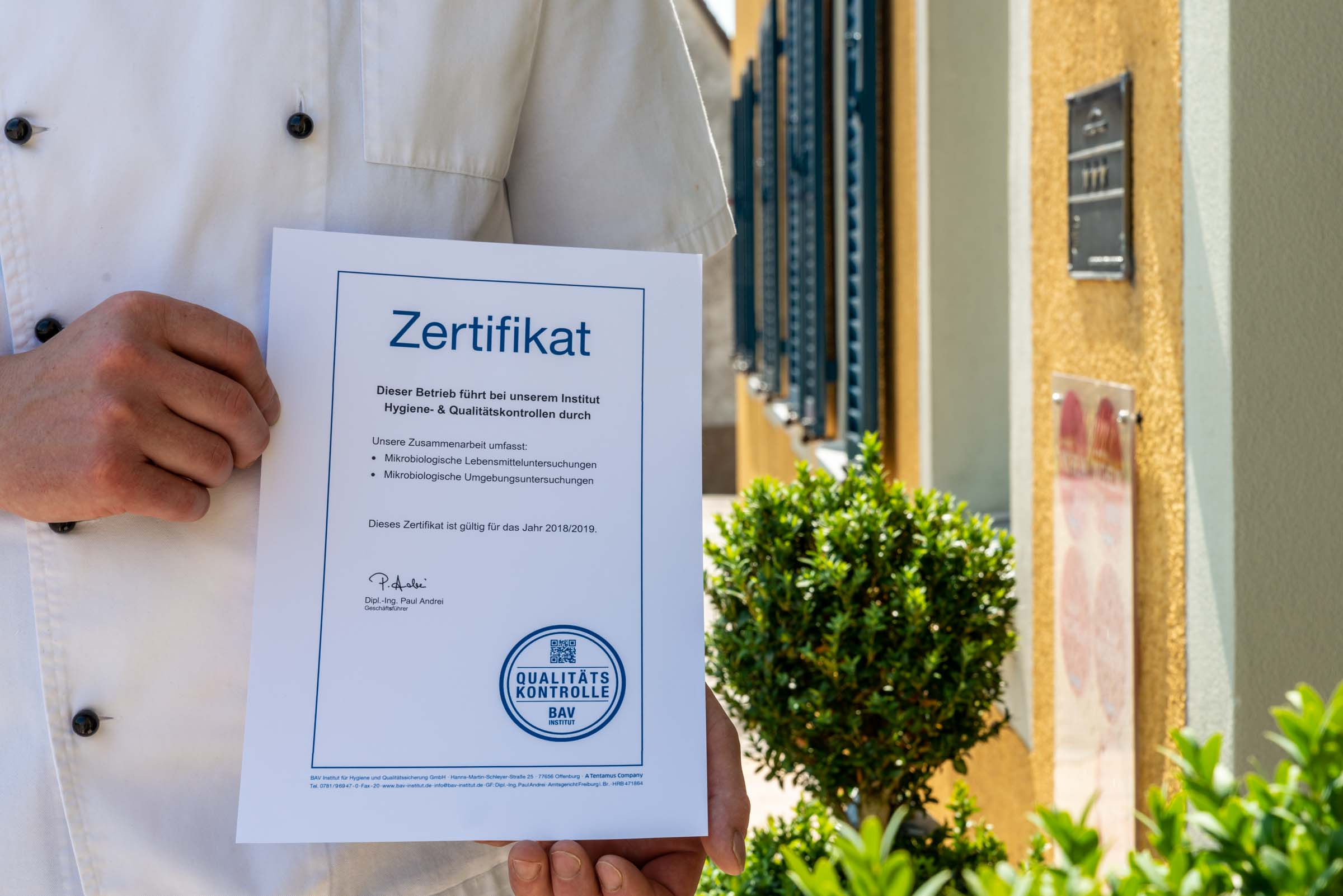 Landhotel Klozbücher Ellwangen-Eggenrot Zertifikat